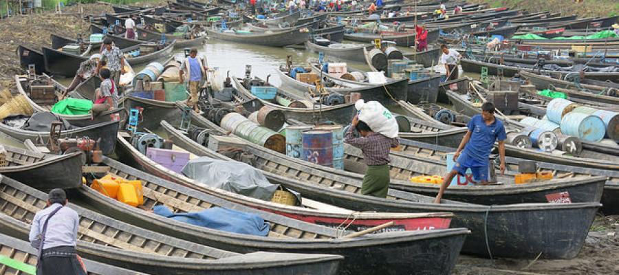 Docked boats in Myanmar, Photo by JJ Cazz