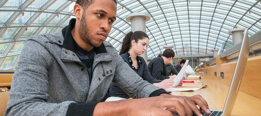 students in Mansueto Library