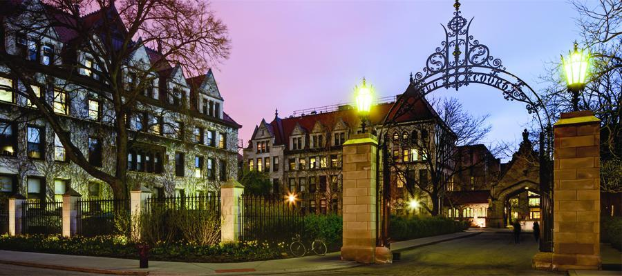 University of Chicago campus in the evening